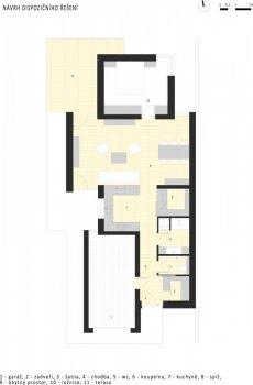 Dispoziční úpravy a návrh interiéru domu pro tatínka